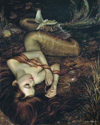 auburn haired mermaid sleeping