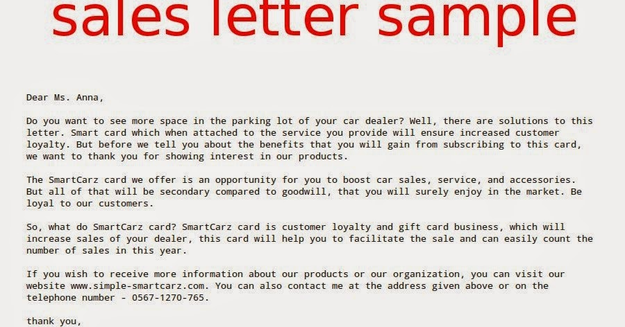 Sales Letter Sample Samples Business Letters