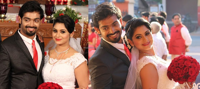 Actress Sruthi Lekshmi and Avin Anto during their wedding