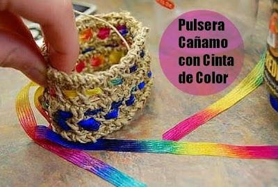 Brazalete de Crochet Cuerda con Cinta Tutorial