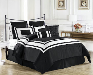 Cozy Beddings Lux Decor Collection 8-Piece Comforter Set with White Stripes, Full, Black