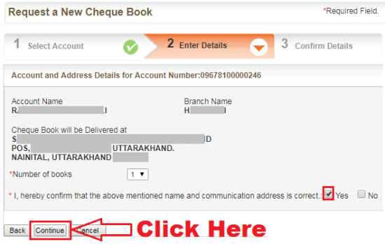 how to issue cheque book from bank of baroda online