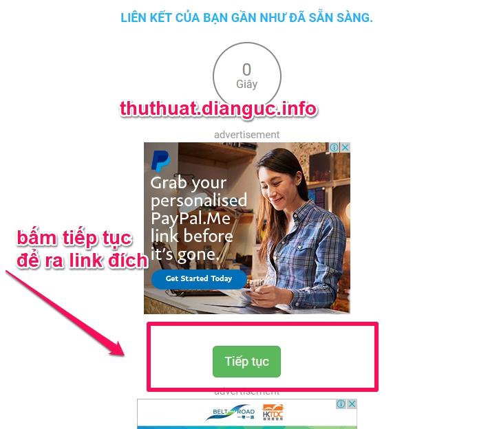 Hướng dẫn bỏ qua quảng cáo link 123link.top
