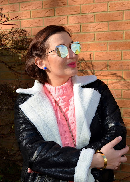 Adriana Style Blog, Blogerka modowa Puławy, Zaful Aviator Jacket, Zaful Pink Sweater, Topshop heels, Heidi Klum Jeans, Fashion blogger, Spring Look, Leather Jacket