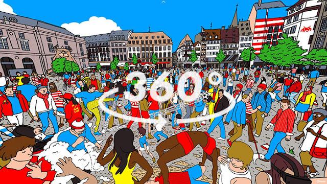 ¿Puedes encontrar a Wally en una ilustración de 360 grados?