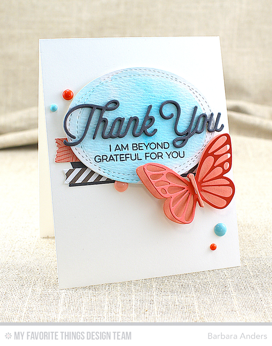 Butterfly Thank You Card by Barbara Anders featuring the Kind Thanks stamp set and the Twice the Thanks, Flutter of Butterflies - Lace, Flutter of Butterflies - Solid, Wonky Stitched Oval STAX, Blueprints 12, Blueprints 13, and Blueprints 27 Die-namics #mftstamps