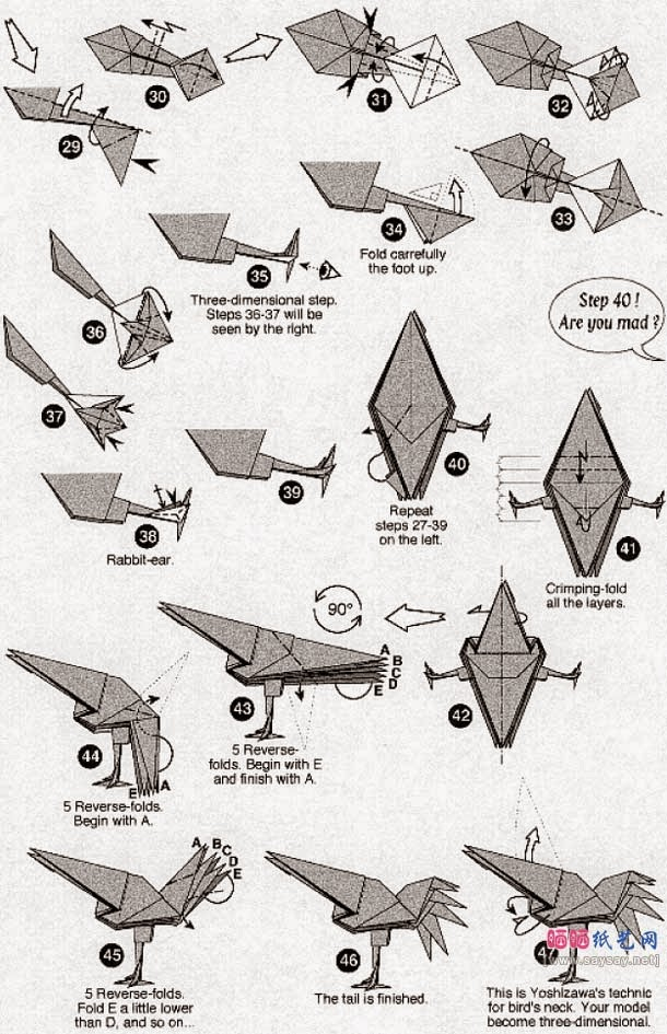 origami chicken instructions ~ easy paper craft for kids