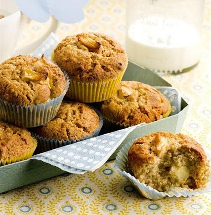 Receta de Muffins de Avena, Platano y Manzana