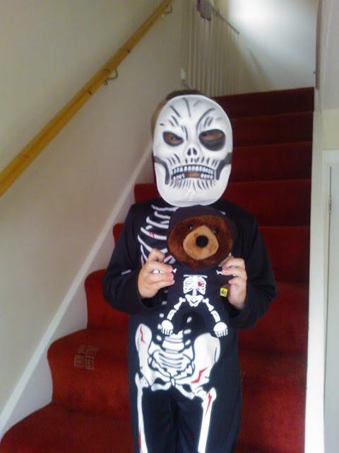 Big Boy and Tom dressed as skeletons