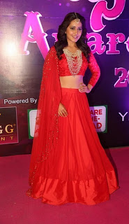 Actress Rashi Khanna Stills in Red Lehenga Choli at Apsara Awards 2016  0036.jpg