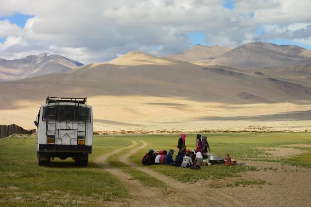 Aire de pique nique à Tso Moriri au Ladakh