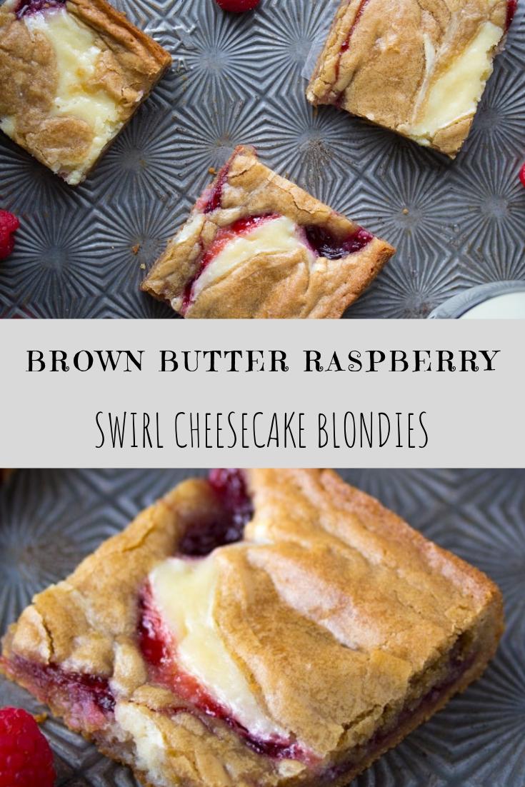 Brown Butter Raspberry Swirl Cheesecake Blondies Recipe