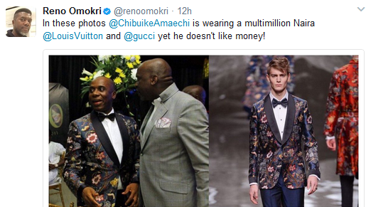 Reno Omokri Drags Out Rotimi Amaechi In Designer Clothes After The Minister Said He 'Does Not Like Money'