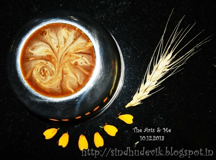 Bird of Paradise - Latte Art? No! This is an imitation art made using honey and yeshtimadhu, an ayurvedic medicine for cough.
