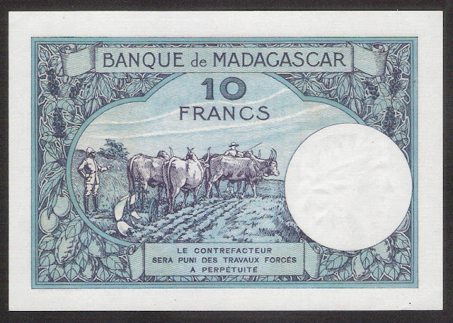 currency Madagascar 10 Francs Banknote