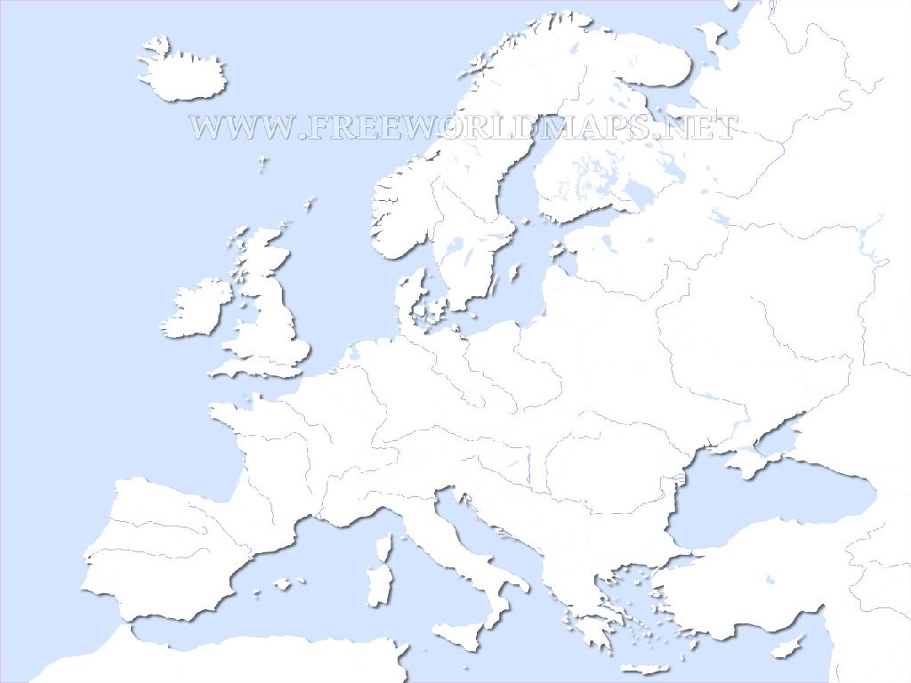 blank europe physical map