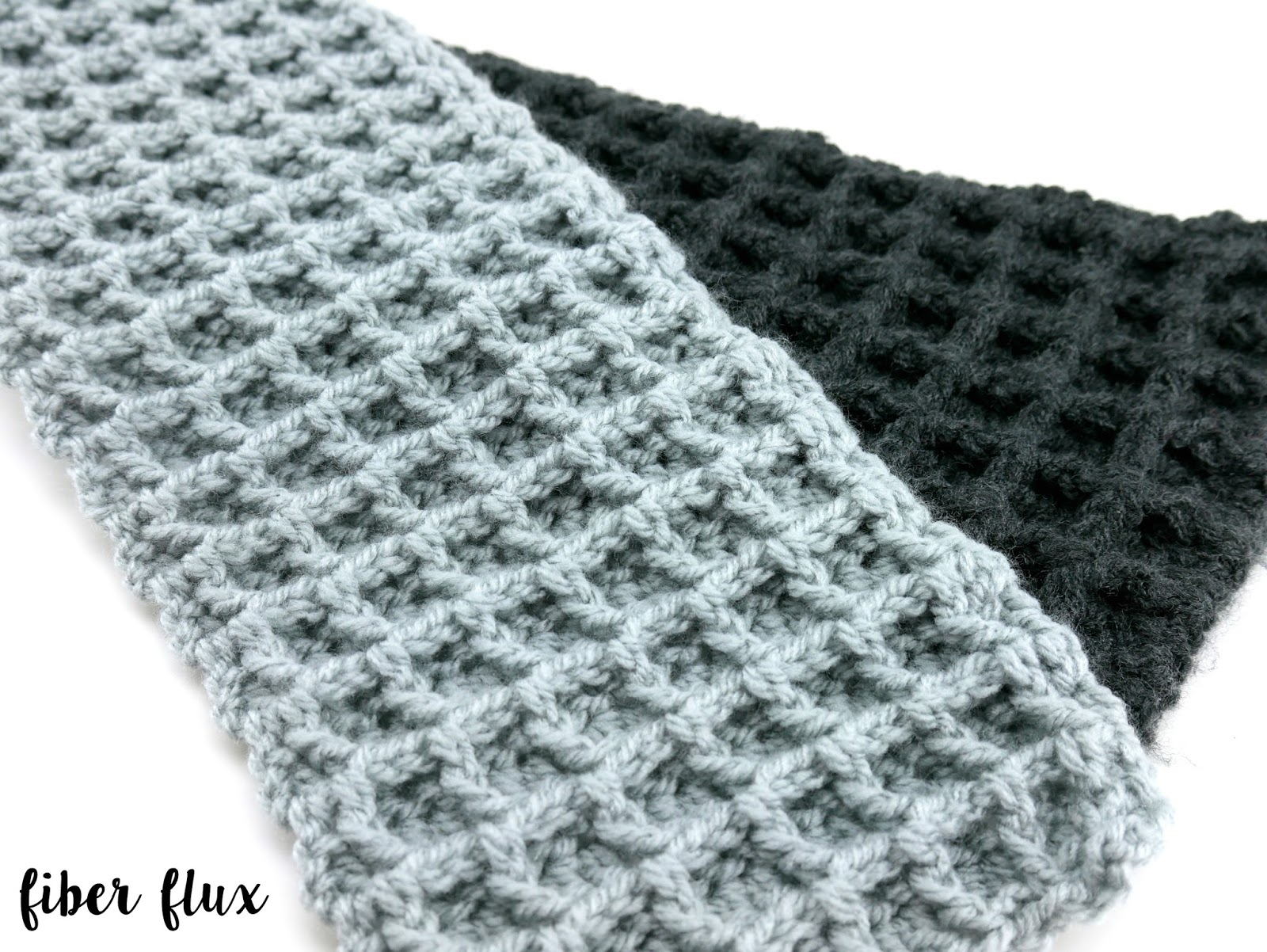 Fiber Flux: Free Crochet Pattern...Two Tone Waffle Stitch Scarf!
