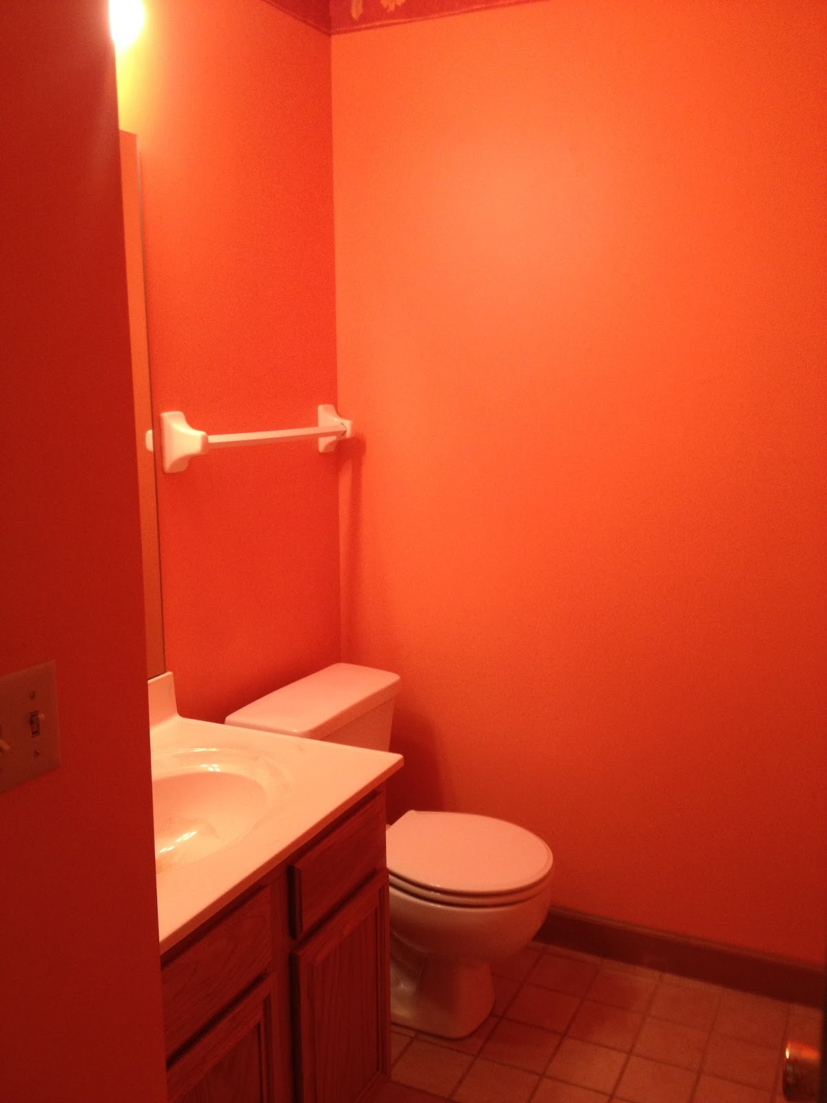 excellent orange bathroom floor | First Time DIYers: Orange Bathroom....NO MORE!