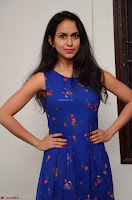 Pallavi Dora Actress in Sleeveless Blue Short dress at Prema Entha Madhuram Priyuraalu Antha Katinam teaser launch 050.jpg