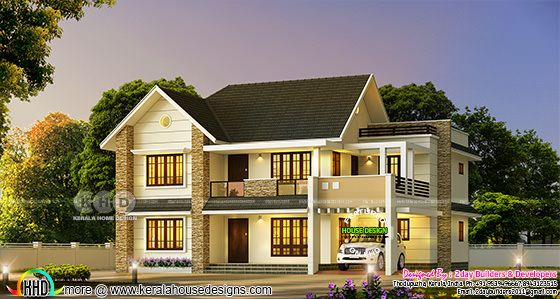 Beautiful 4 bedroom sloping roof Kerala home 2947 sq-ft