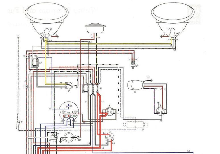 vw beetle 1200 wiring diagram 1958 1959