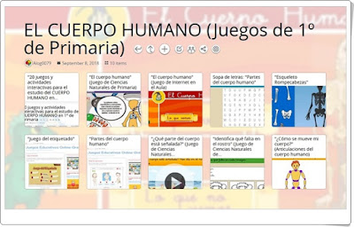 """""""10 Juegos para el estudio de EL CUERPO HUMANO en 1º de Primaria"""""""