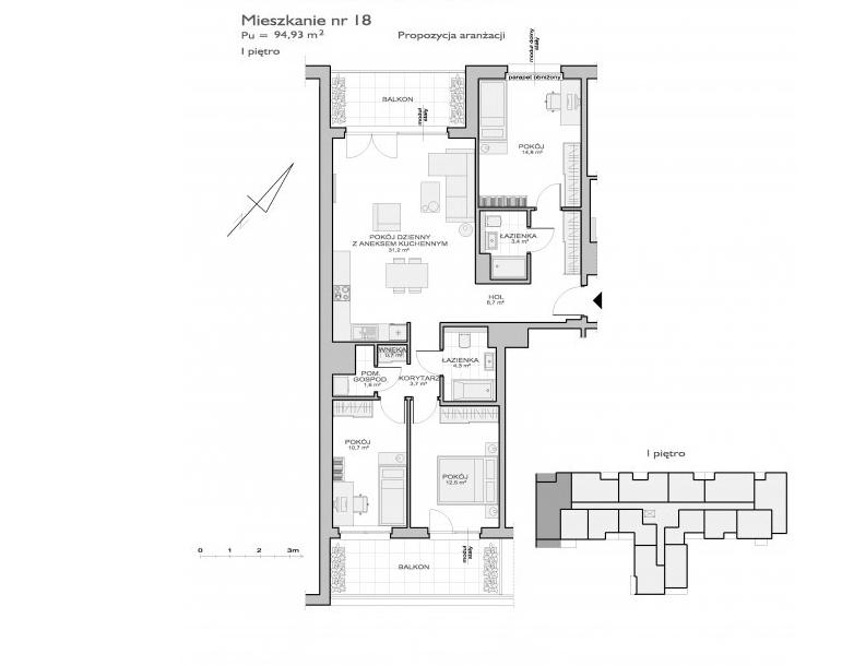 podłużny kształt mieszkania
