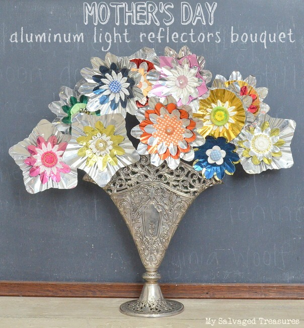 turn vintage tree light reflectors into a bouquet of flowers