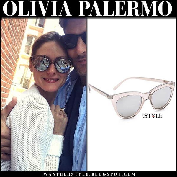 Olivia Palermo with Johannes Huebl in mirrored silver cat eye sunglasses and white sweater celebrities wearing le specs august 27 2017