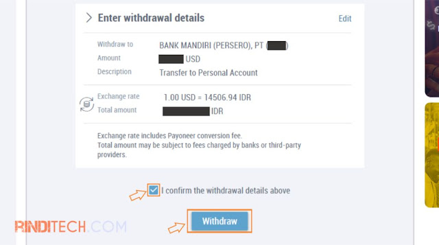 Cara Transfer Saldo dari Payoneer Ke Rekening Bank Lokal