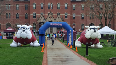 set up for the Dean Dash 5K on the Dean campus in a prior year