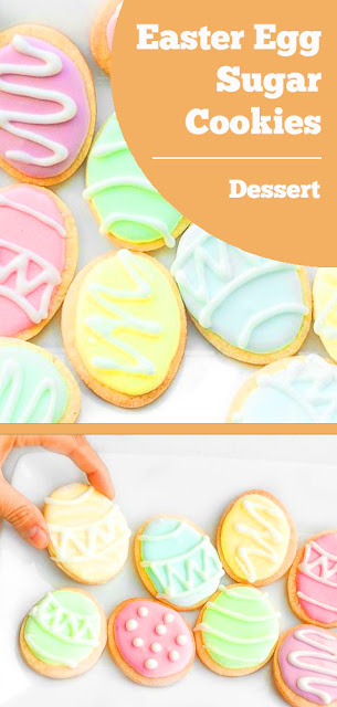 These cute, delicious and easy-to-make Easter egg sugar cookies are the perfect treat this Easter! #easter #egg #sugar #cookies #easteregg #dessert