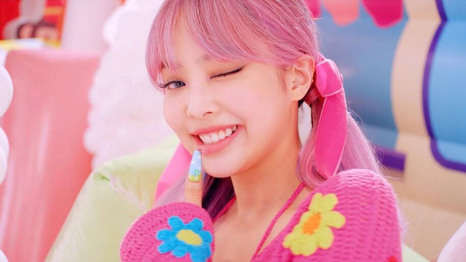 BLACKPINK, Jennie, Ice Cream, Wink, Pink Hair, 4K, #7.2624