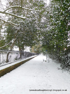 Snowy path to Loughborough cemetery