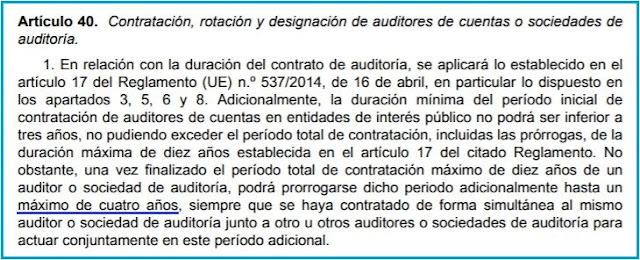 artículo 40.1 de la Ley 22/2015, de Auditoría de Cuentas