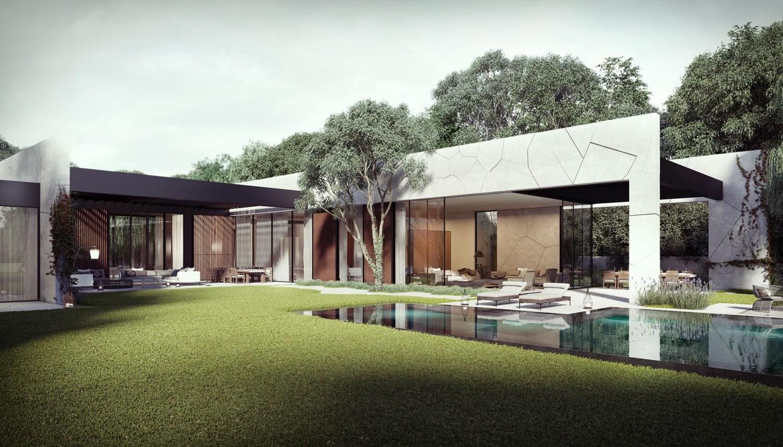 Dise o de casa en forma de l con piscina dise o de casas for Disenos para frentes de casas