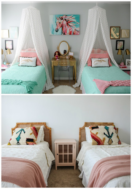A shared girls room, from mermaid theme to minimal boho