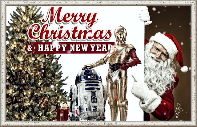 Merry Christmas, XMas,Happy New Year, Holidays, Wishes, Star Wars, C3PO, R2D2, Digital Paint, Digital Art, Artwork, David C.Designs