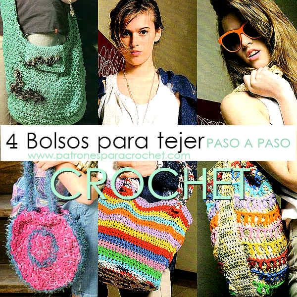 4 modelos de bolsos para tejer al crochet