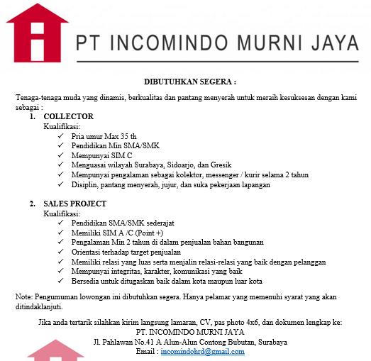 Lowongan Kerja Pt Incomindo Murni Jaya Surabaya Januari