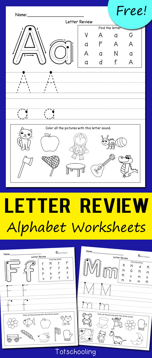 Letter Review Alphabet Worksheets   Totschooling - Toddler [ 1410 x 600 Pixel ]