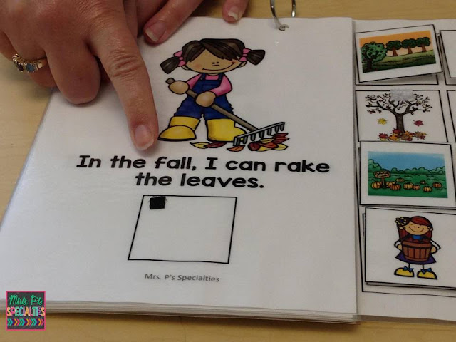 photo of teacher pointing to text in an interactive book