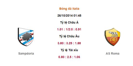 Nhận định Sampdoria vs AS Roma 1h45 ngày 26/10.