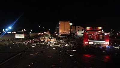 double big rig crash highway 99 fresno jensen avenue