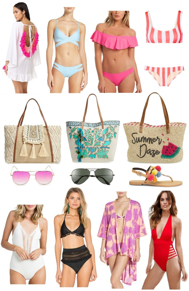 Spring Swimwear Guide from The Classic Brunette. Fun, flirty, and bright bikinis. Off the shoulder bikinis, cute coverups, beach totes, and more!