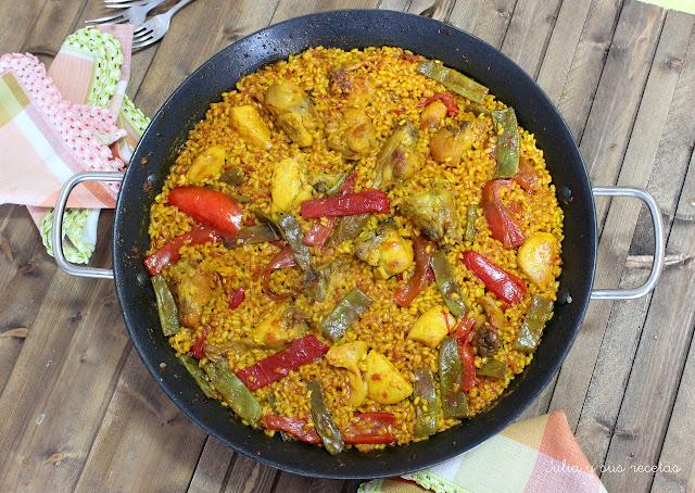 julia y sus recetas paella mixta de conejo y pollo