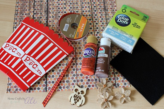 crafting supplies used to make treat box