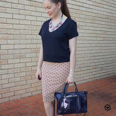 awayfromblue Instagram | black plain tee polka dot blush pencil skirt navy regan bag