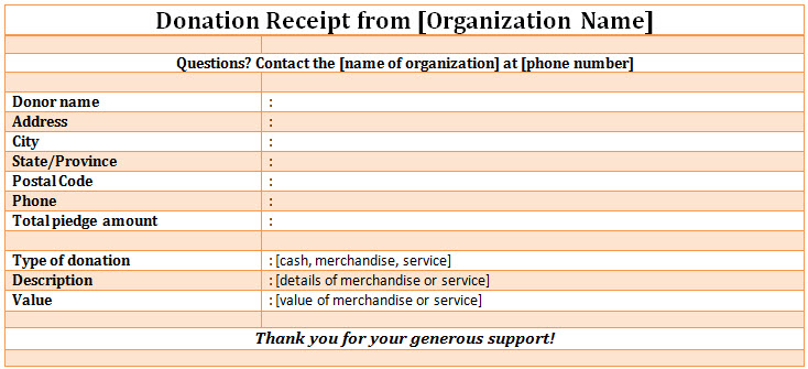 Non Profit Donation Receipt Template Free Word And Jpg Format D