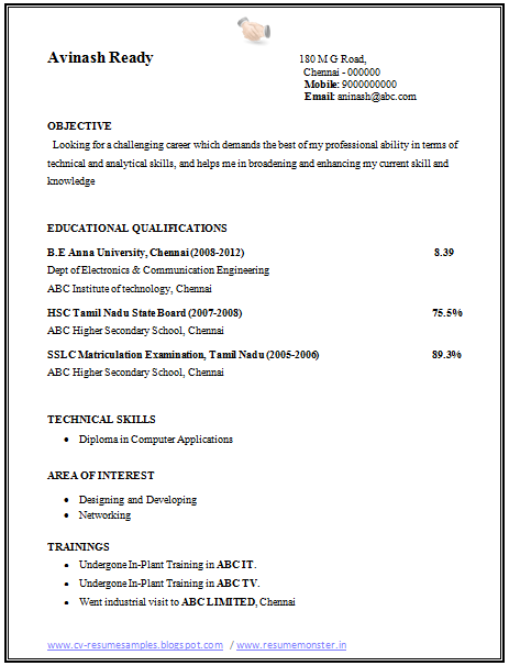 Curriculum Vitae Cv Resume Samples Resume Format Over 10000 Cv And Resume Samples With Free Download